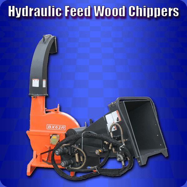 Hydraulic feed wood chippers